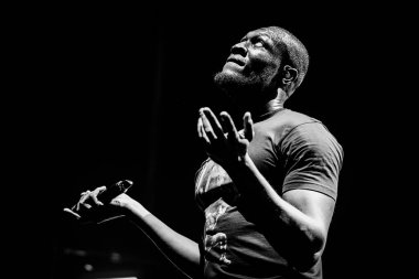 Stormzy at AFAS on February 22, 2020 in Amsterdam, Netherlands