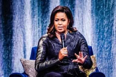 Former Fist Lady Michelle Obama at Ziggo Dome on April 17, 2019 in Amsterdam, Netherlands