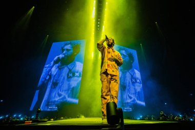 Singer Post Malone at Ziggo Dome on February 25, 2019 in Amsterdam, Netherlands