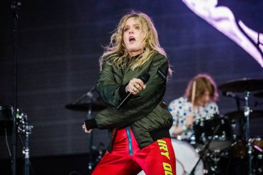 Tove Lo performing on stage during  music festival