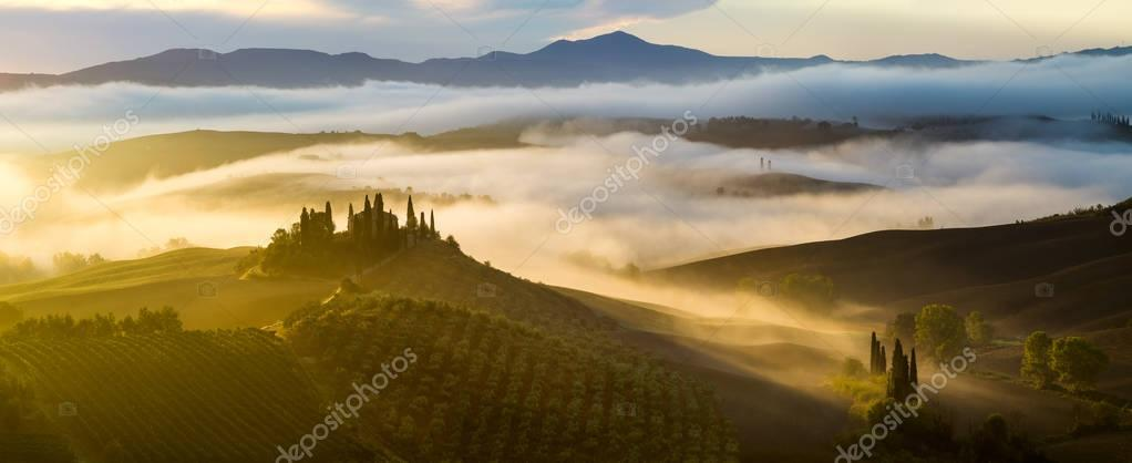 Pienza,Italy-September 2015:the famous Tuscan landscape at sunri
