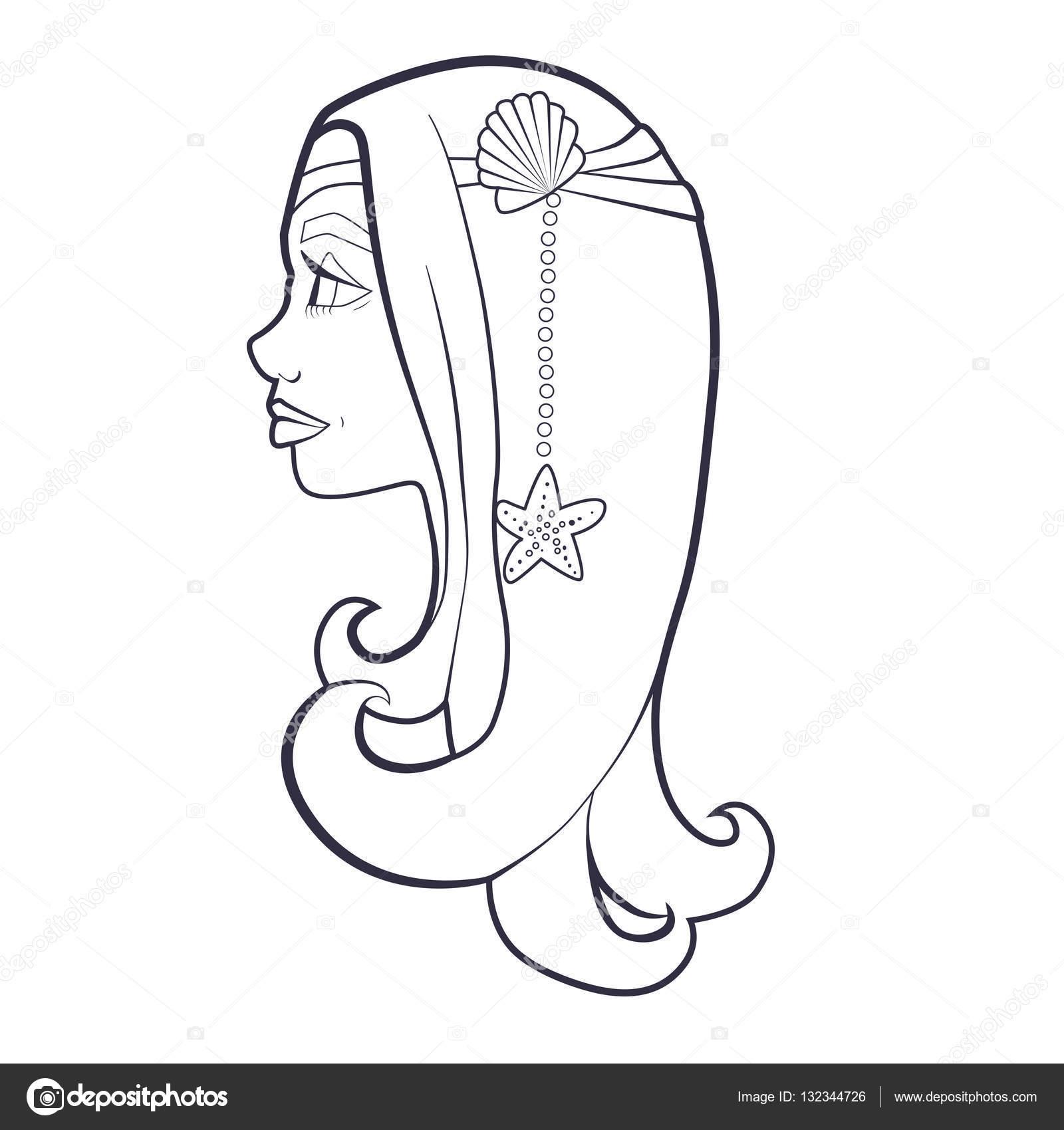 Bir Kız Deniz Kabuğu Ve Deniz Yıldızı Karikatür Ile Boyama Kitabı