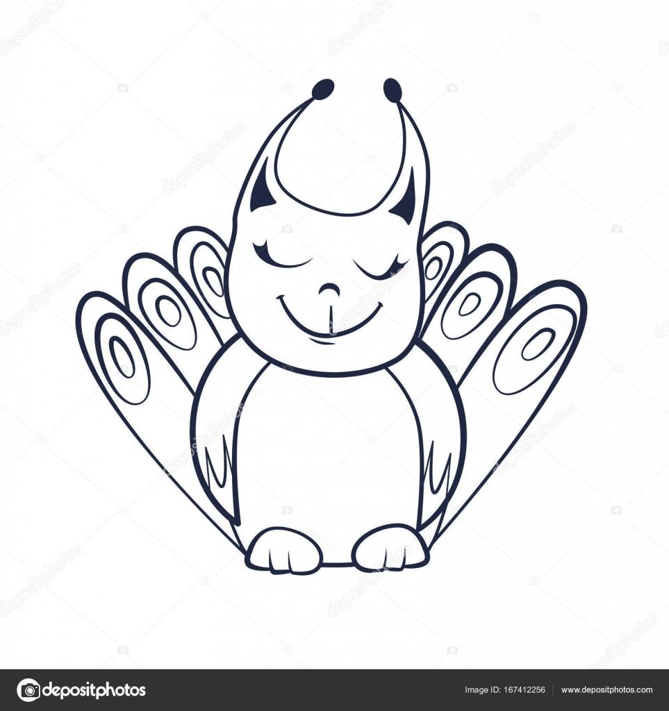 Libro con dibujos animados de lindo sonriente criatura de fantasía ...