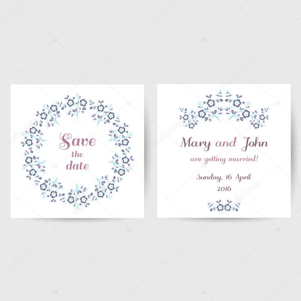 Hochzeit-Postkarte mit blauen Blüten — Stockvektor © your-solution ...