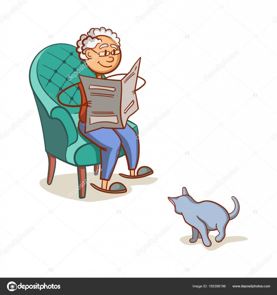 Nonno In Poltrona.Nonno Con Il Gatto Vettoriali Stock C Your Solution 165398196