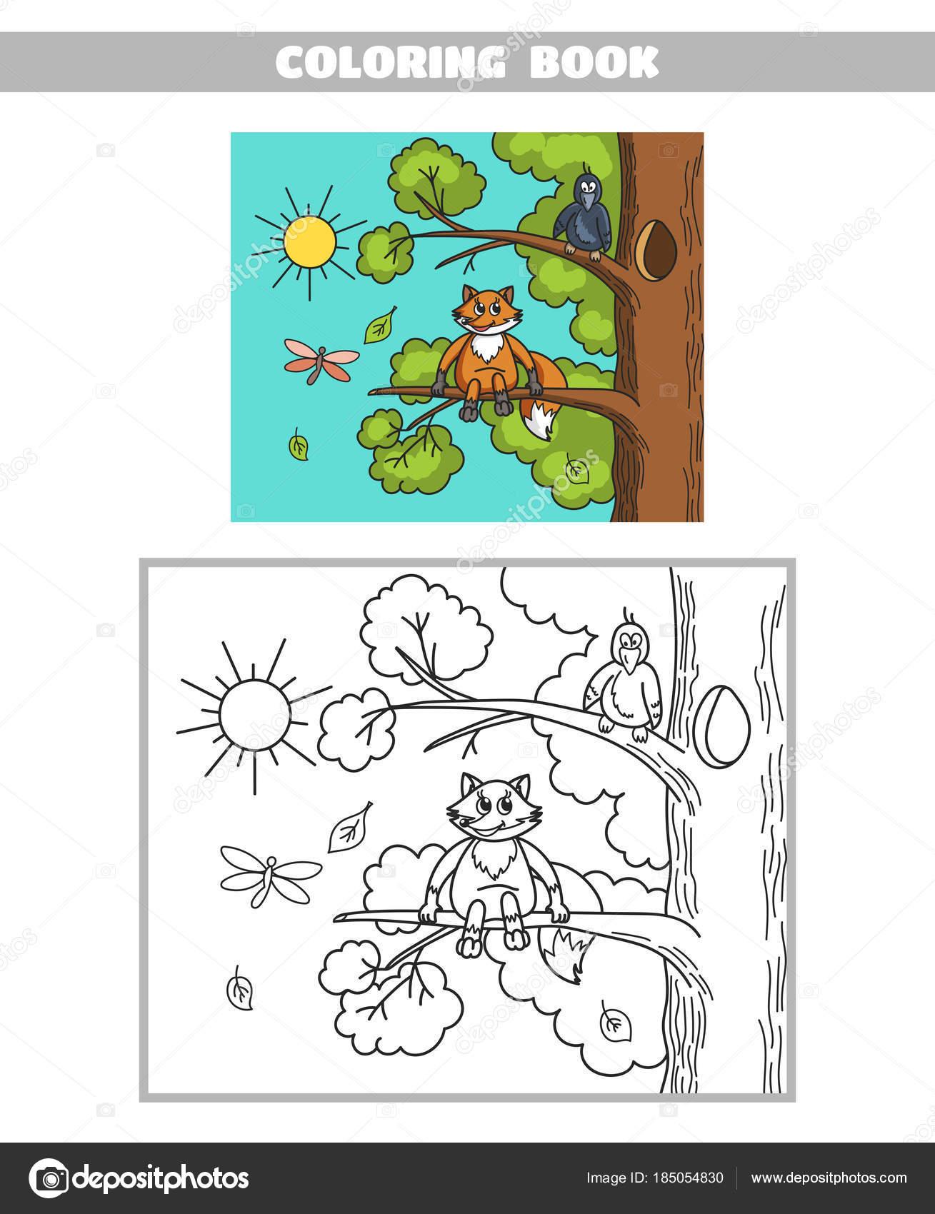 Boyama Kitabı Fox Ve Karga Stok Vektör Your Solution 185054830