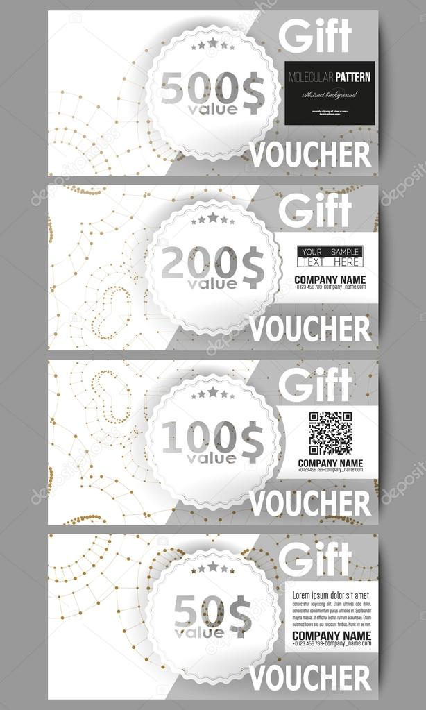 Set of modern gift voucher templates. Abstract polygonal low poly ...