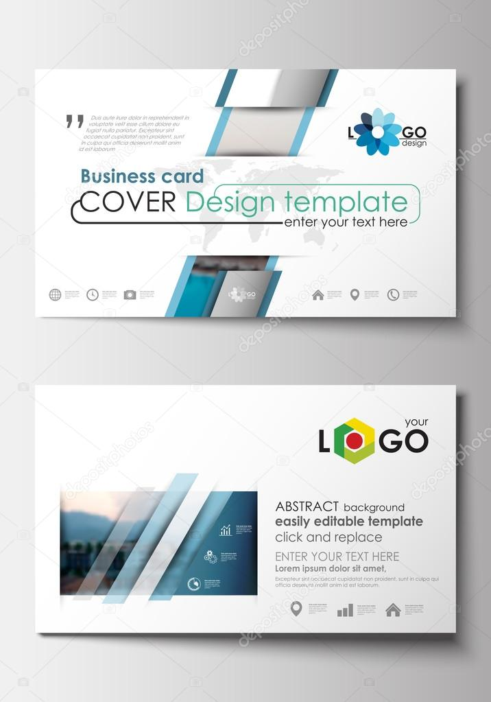 Business card templates flat design blue color travel decoration business card templates flat design blue color travel decoration layout easy editable vector template colorful blurred natural landscape vector by reheart Choice Image