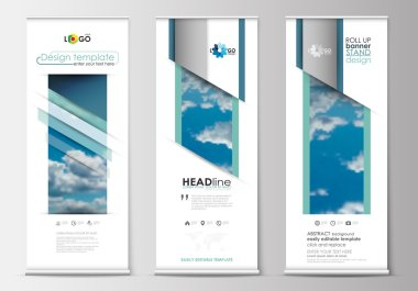 Set of roll up banner stands, blue flat design templates, abstract geometric style, modern business concept, corporate vertical vector flyers.