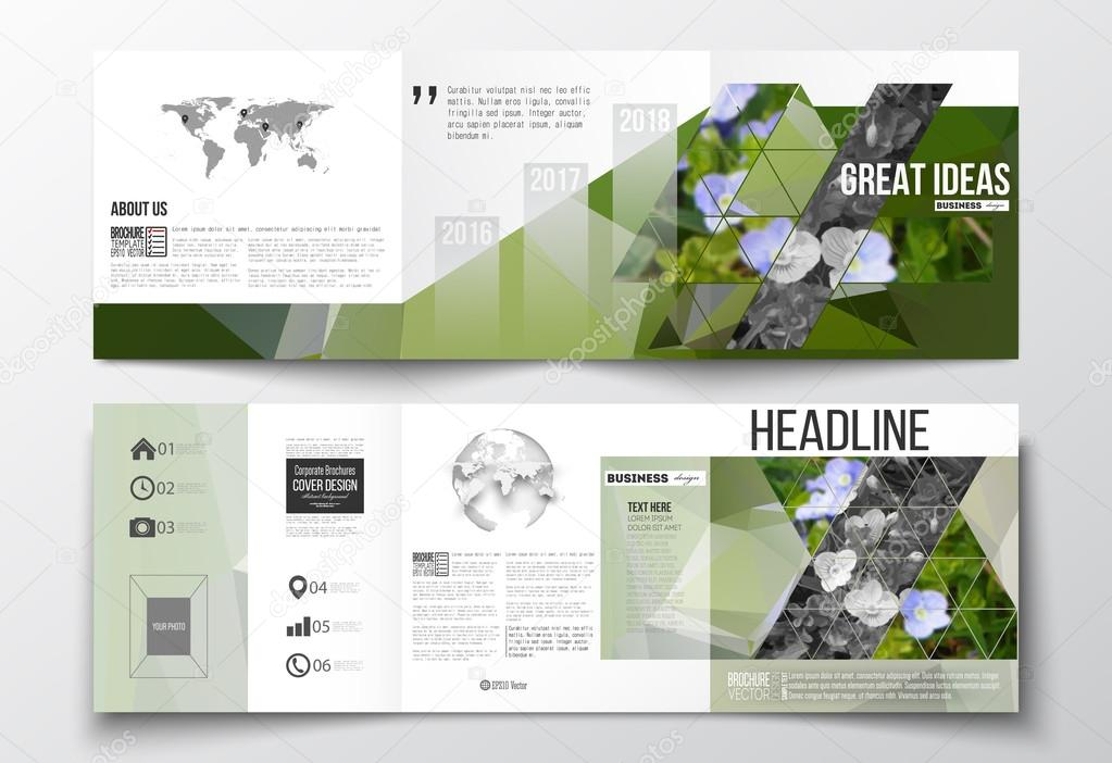 Vector set of tri-fold brochures, square design templates. Polygonal floral background, blurred image, blue flowers in green grass closeup, modern triangular texture