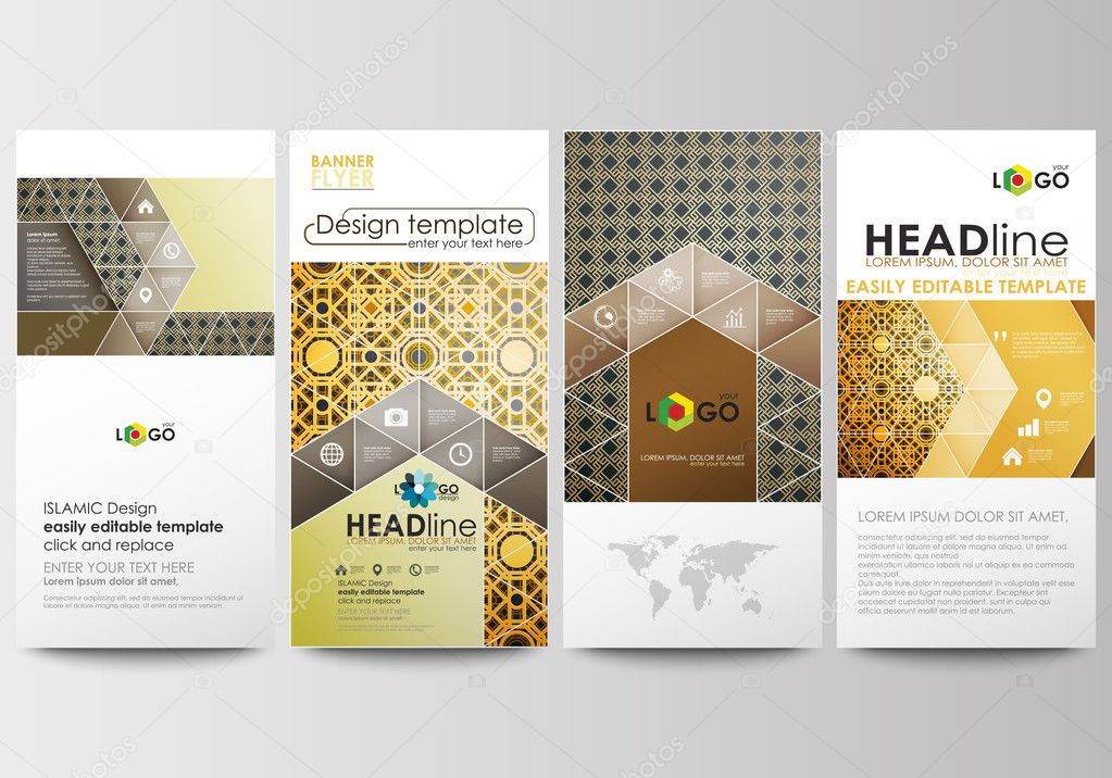 flyers set modern banners business templates cover design
