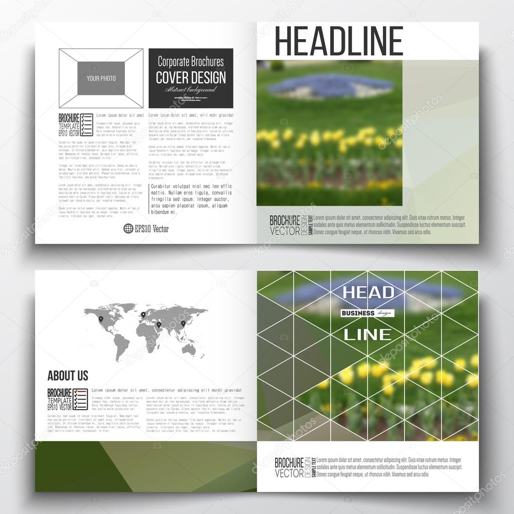 Vector set of square design brochure template. Colorful polygonal floral background, blurred image, yellow flowers on green, modern triangular texture