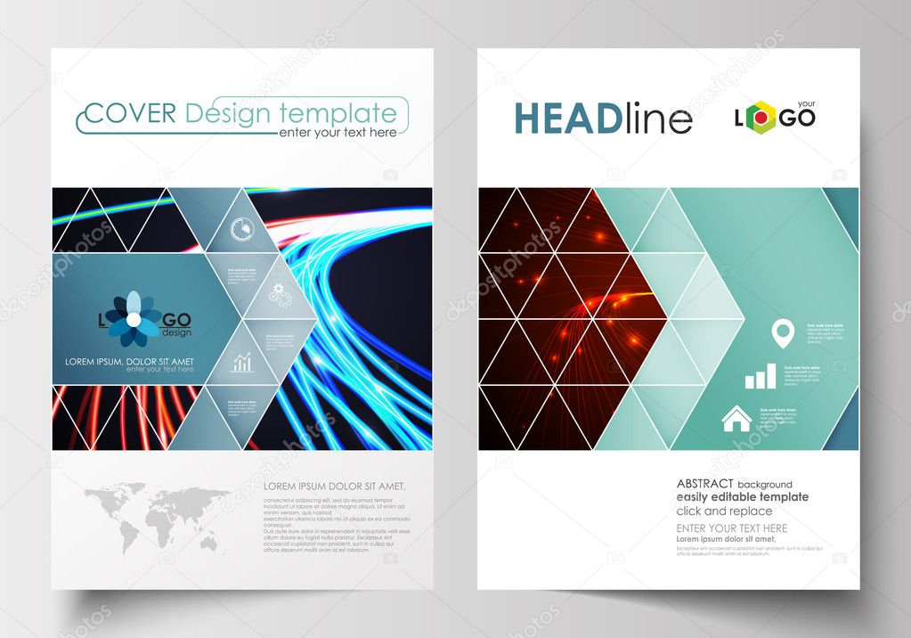 Business Templates For Brochure, Magazine, Flyer, Booklet Or Annual Report.  Cover Design Template, Easy Editable Blank, Abstract Flat Layout In A4 Size.  Annual Report Cover Template