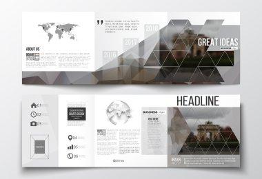 Set of tri-fold brochures, square design templates. Polygonal background, blurred image, urban landscape, Paris cityscape, modern triangular vector texture