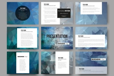 Set of 9 templates for presentation slides. Abstract blue polygonal background, colorful backdrop, modern stylish vector texture.