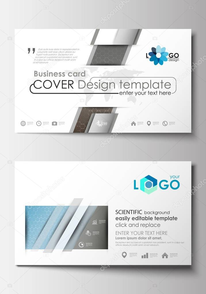 Business card templates cover template easy editable blank business card templates cover design template easy editable blank abstract flat layout scientific medical research chemistry pattern hexagonal design accmission Choice Image