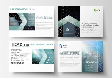 Business templates for presentation slides. Easy editable vector layouts. Chemistry pattern, hexagonal molecule structure, scientific or medical research. Medicine, science and technology concept.