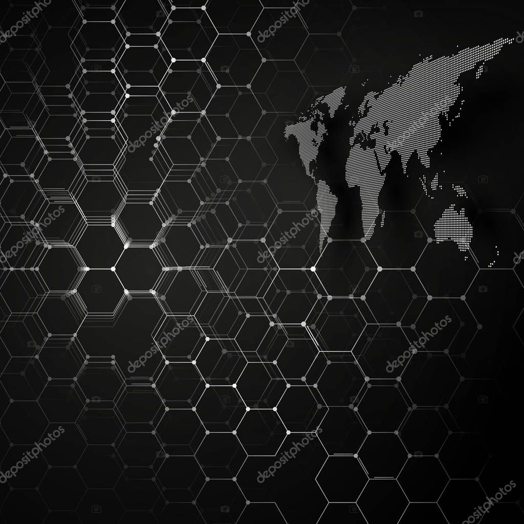 White dotted world map connecting lines and dots on black color white dotted world map connecting lines and dots on black color background chemistry pattern gumiabroncs Choice Image