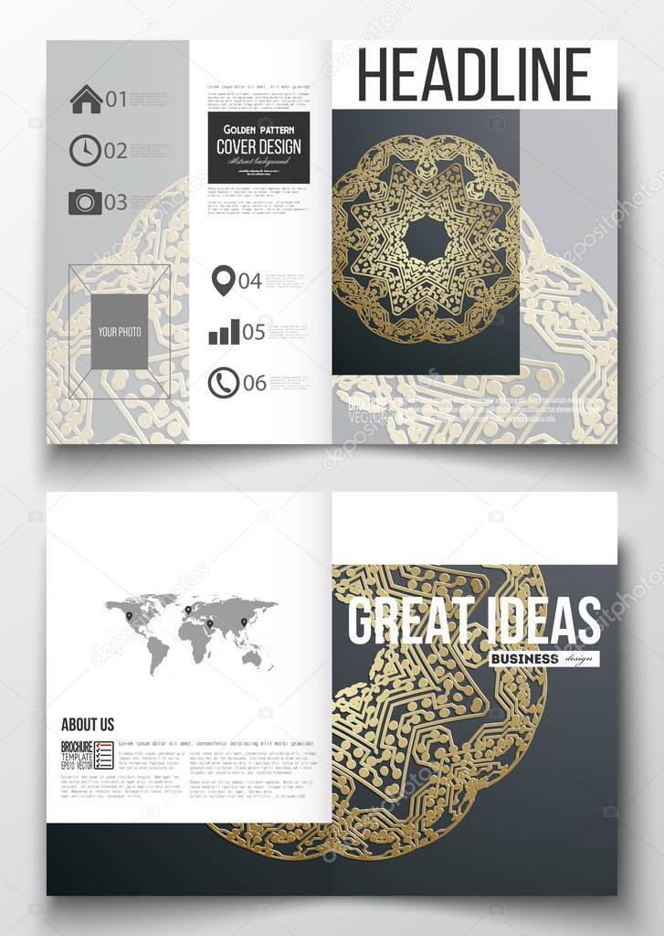 Business-Vorlagen für Broschüre, Magazin, Flyer, berichten. Goldene ...