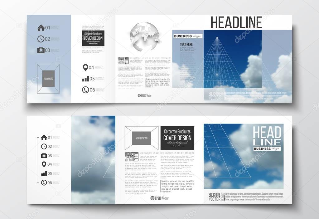 Sistema de publicidad, plantillas de diseño cuadrado. Hermoso cielo ...