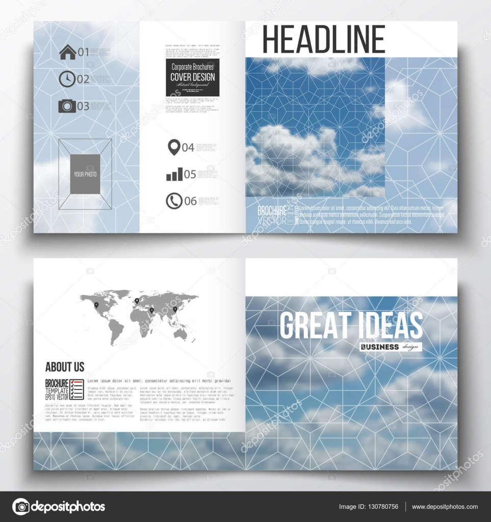 Set Of Square Design Brochure Template Beautiful Blue Sky - Beautiful brochure templates