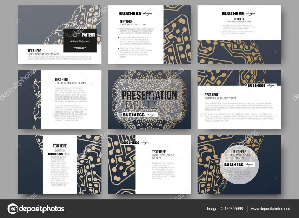 set of 9 templates for presentation slides. golden microchip, Presentation templates