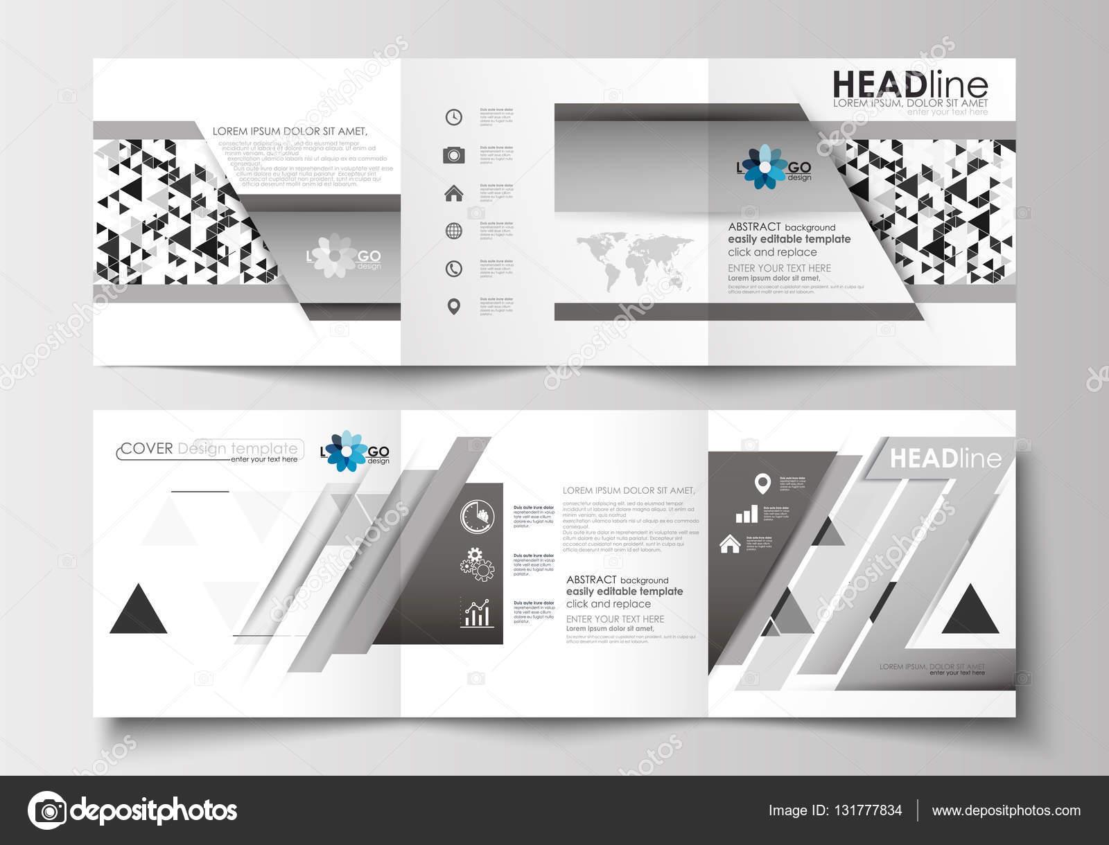 Reihe von Business-Vorlagen für Tri-Fold quadratische Broschüren ...