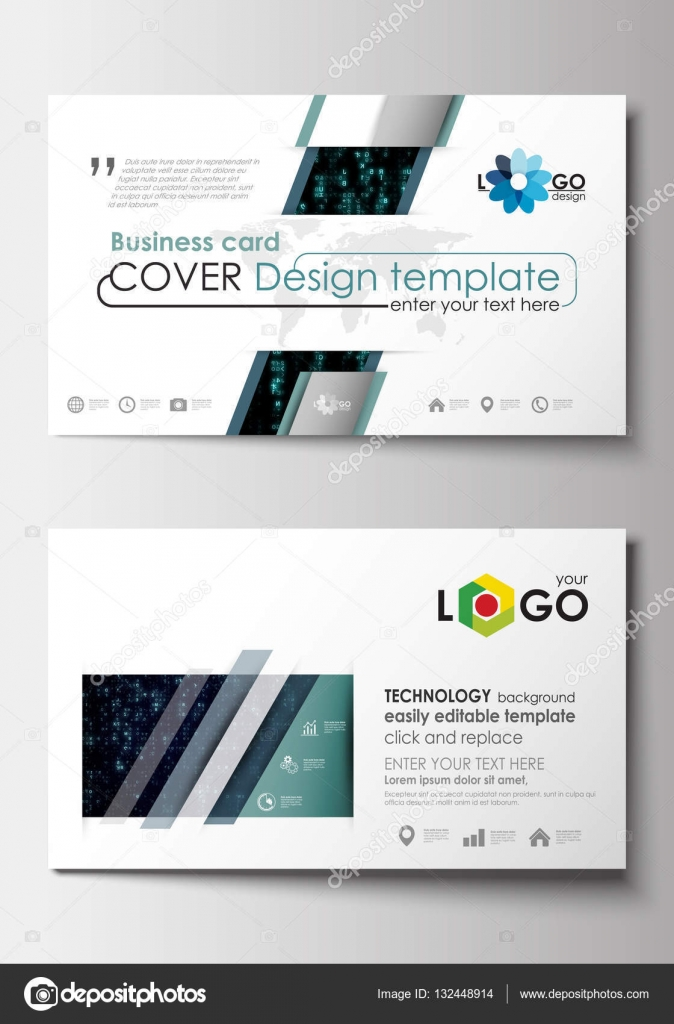 Business card templates cover design template easy editable blank business card templates cover design template easy editable blank abstract flat layout virtual reality color code streams glowing on screen wajeb Gallery