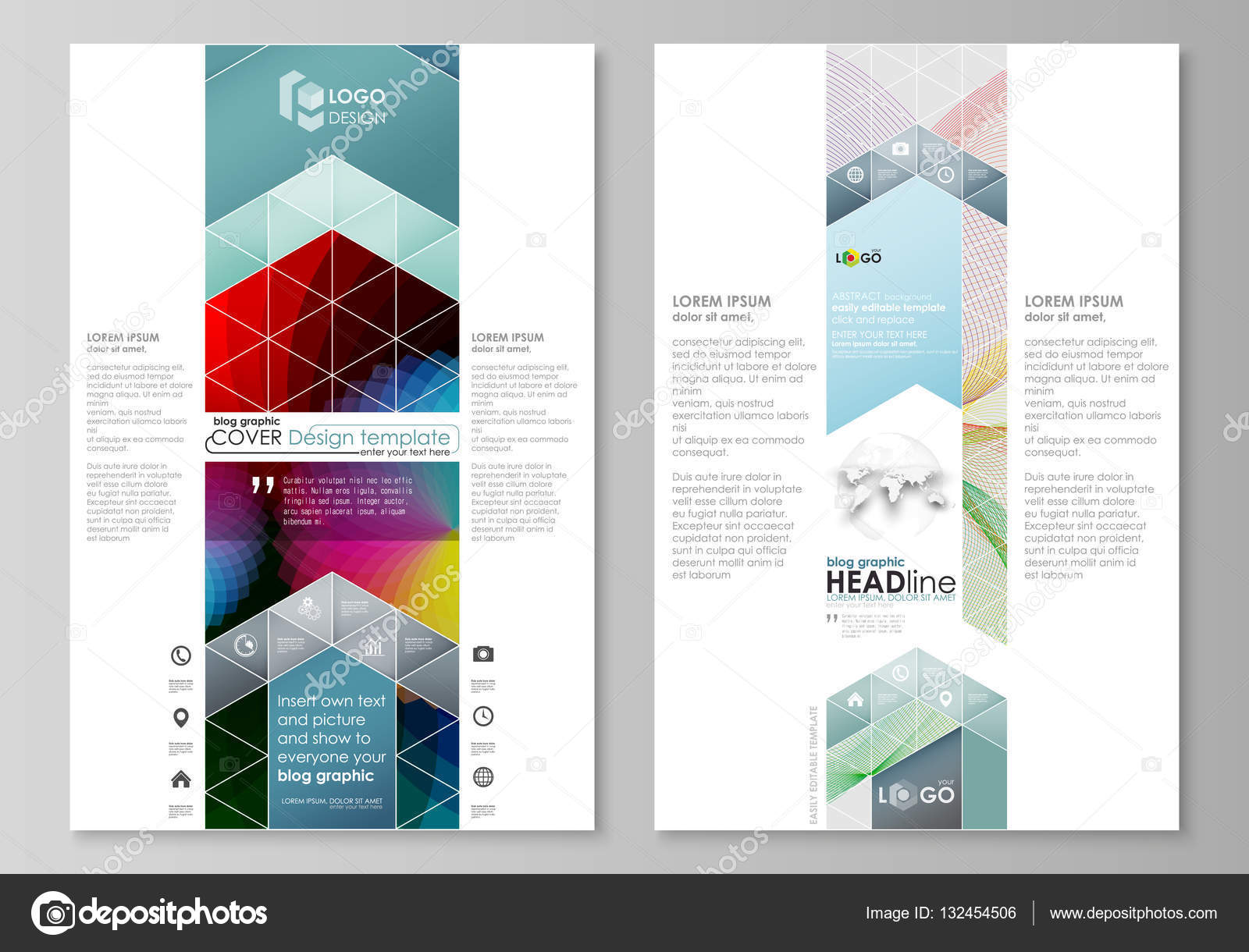 Blog graphic business templates. Page website template, flat vector ...