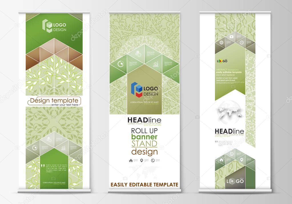 Roll up banner stands, flat design templates, abstract geometric style, vertical flyers, flag layouts. Green color background with leaves. Spa concept. Vector decoration.
