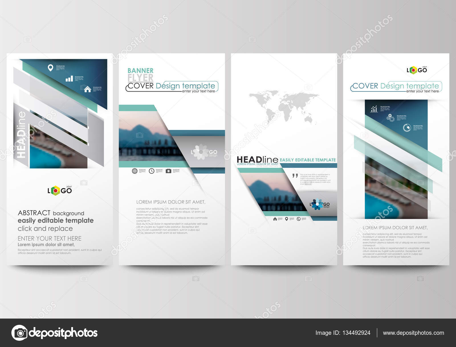 flyers set modern banners business templates cover template flat