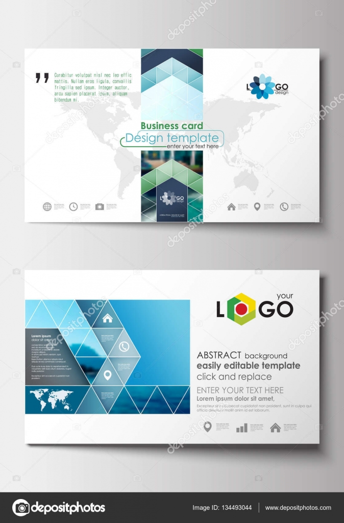 Business card templates flat design blue color travel decoration business card templates flat design blue color travel decoration layout easy editable vector template colorful blurred natural landscape vector by reheart Image collections