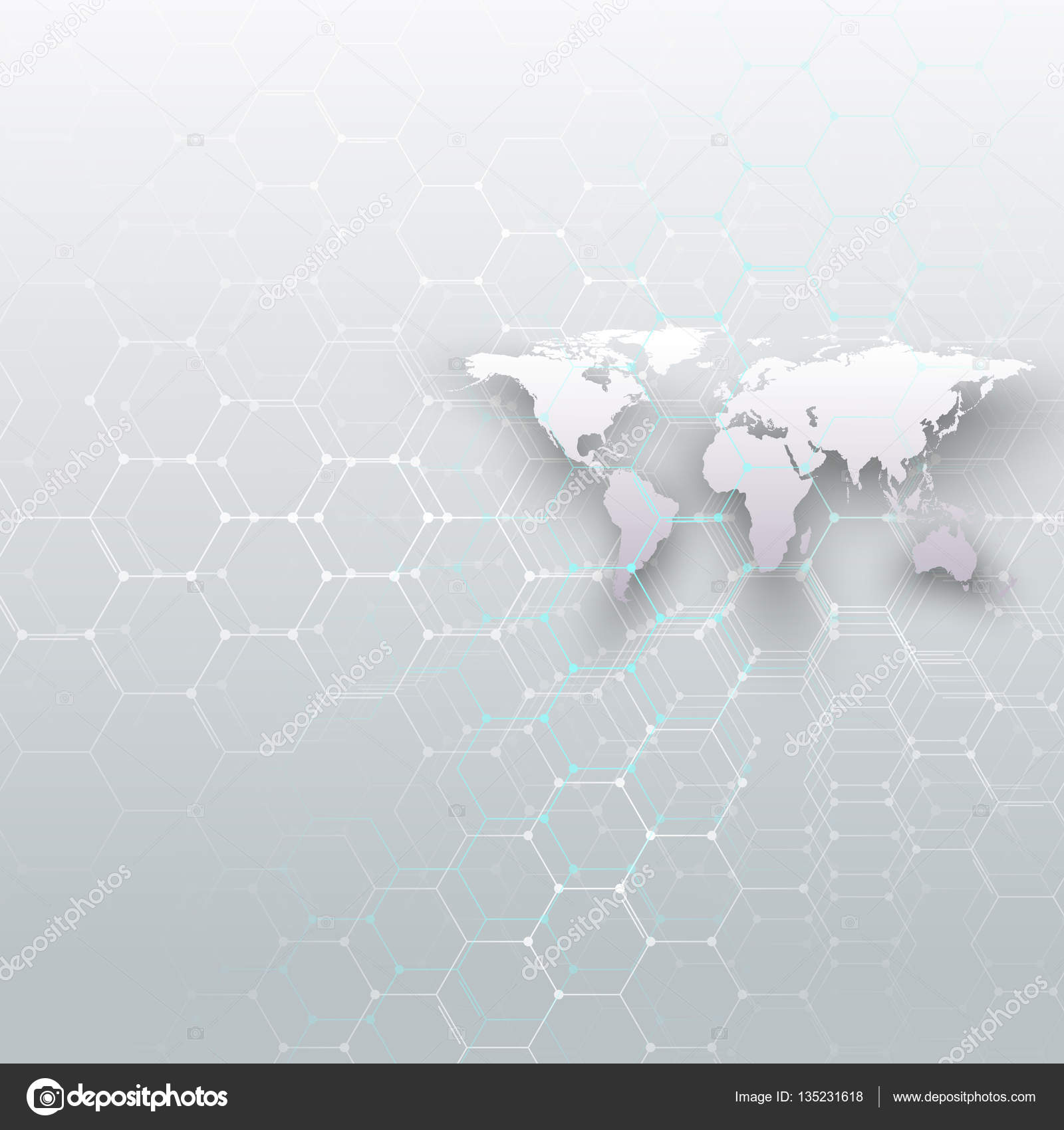 White world map connecting lines and dots on gray color background white world map connecting lines and dots on gray color background chemistry pattern hexagonal molecule structure scientific research gumiabroncs Gallery