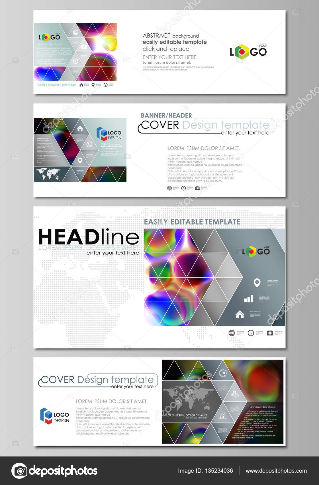 Social Media And Email Headers Set Modern Banners Business - Email ad template