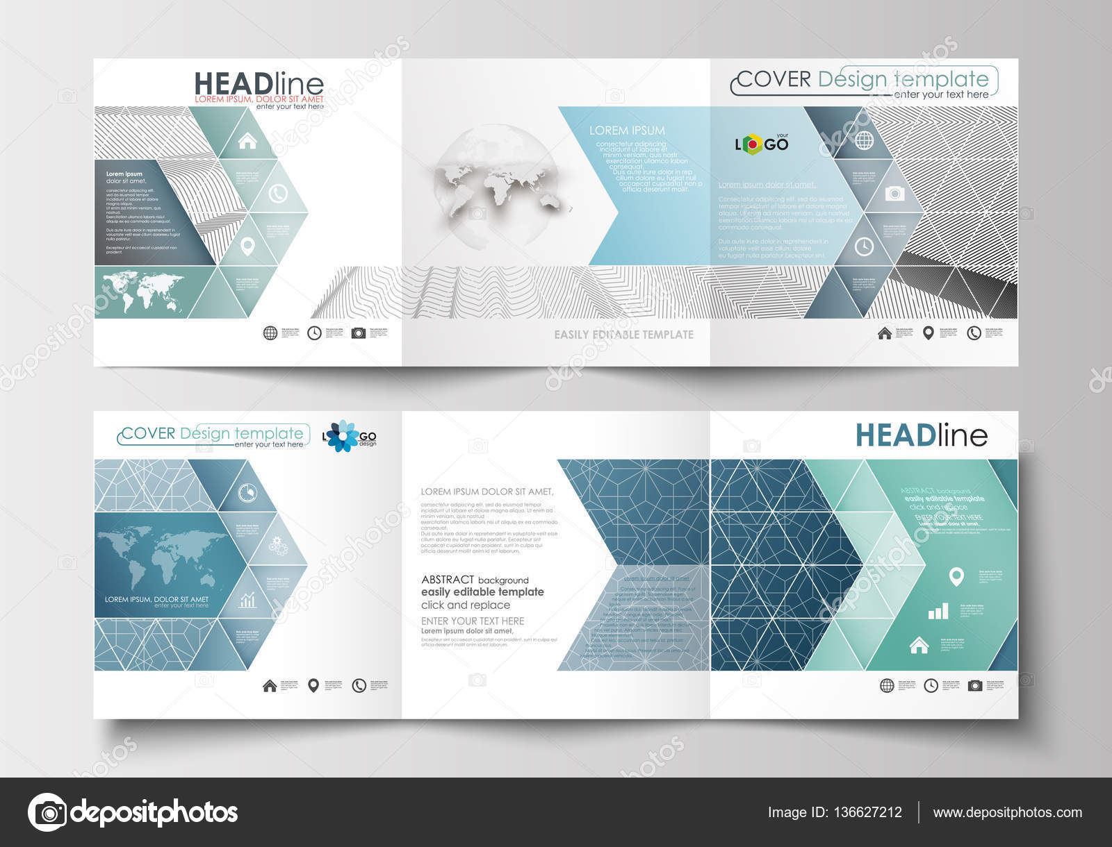 Reihe von Business-Vorlagen für Tri-Fold-Broschüren. Platzgestaltung ...