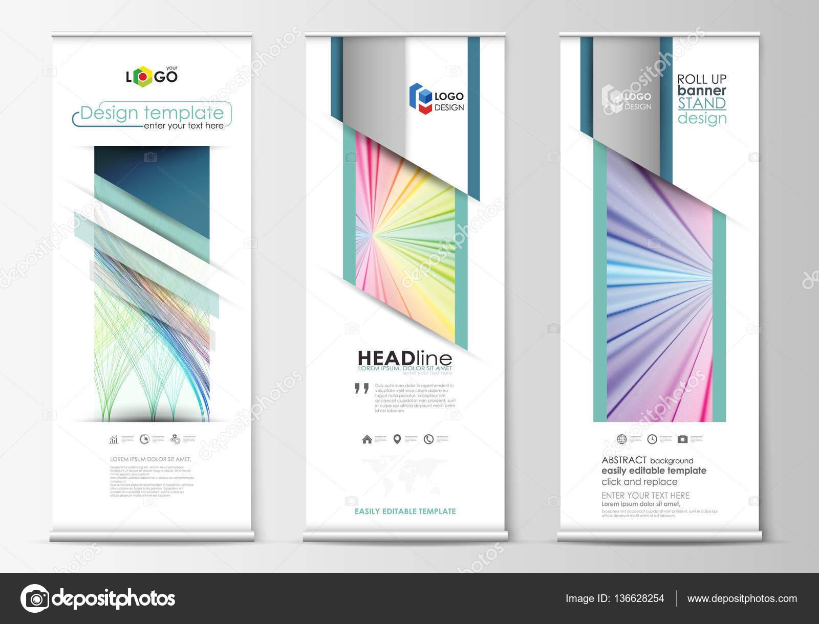 Roll up banner stands, plantillas de estilo geométrico, concepto de ...