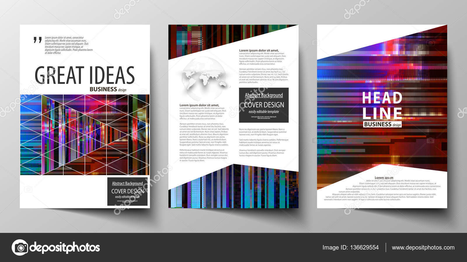 Business templates for brochure magazine flyer annual report business templates for brochure magazine flyer annual report cover design template abstract vector layout in a4 size glitched background made of cheaphphosting Choice Image