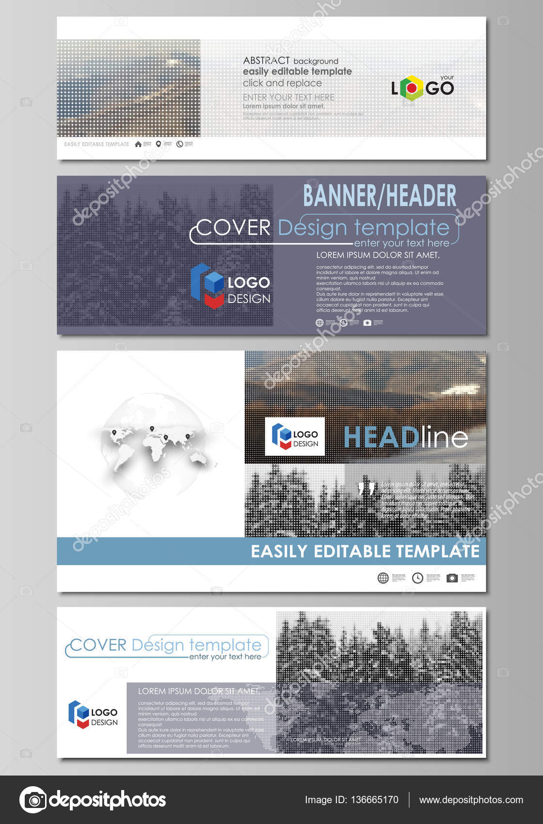 Social media and email headers set, modern banners. Business design ...