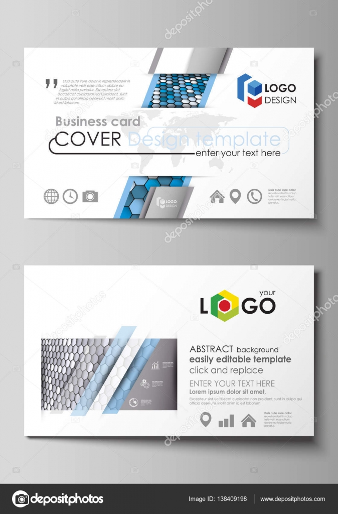 Business card templates easy editable layout vector template blue business card templates easy editable layout abstract vector design template blue and gray color hexagons in perspective abstract polygonal style modern cheaphphosting Images
