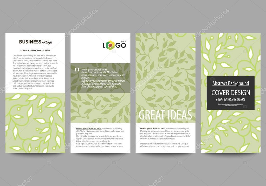 Flyers set, modern banners. Business templates. Cover design template, flat layouts. Green color background with leaves in linear style. Vector decoration.