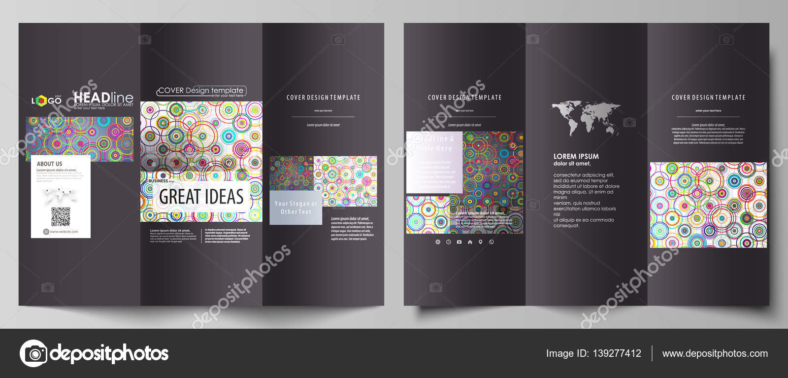 Tri-fold brochure business templates on both sides. Easy editable ...