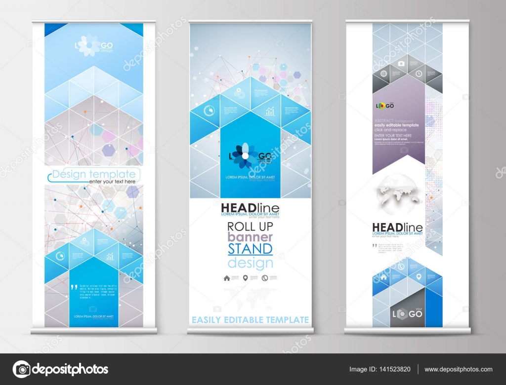 Set of roll up banner stands, flat design templates, abstract ...