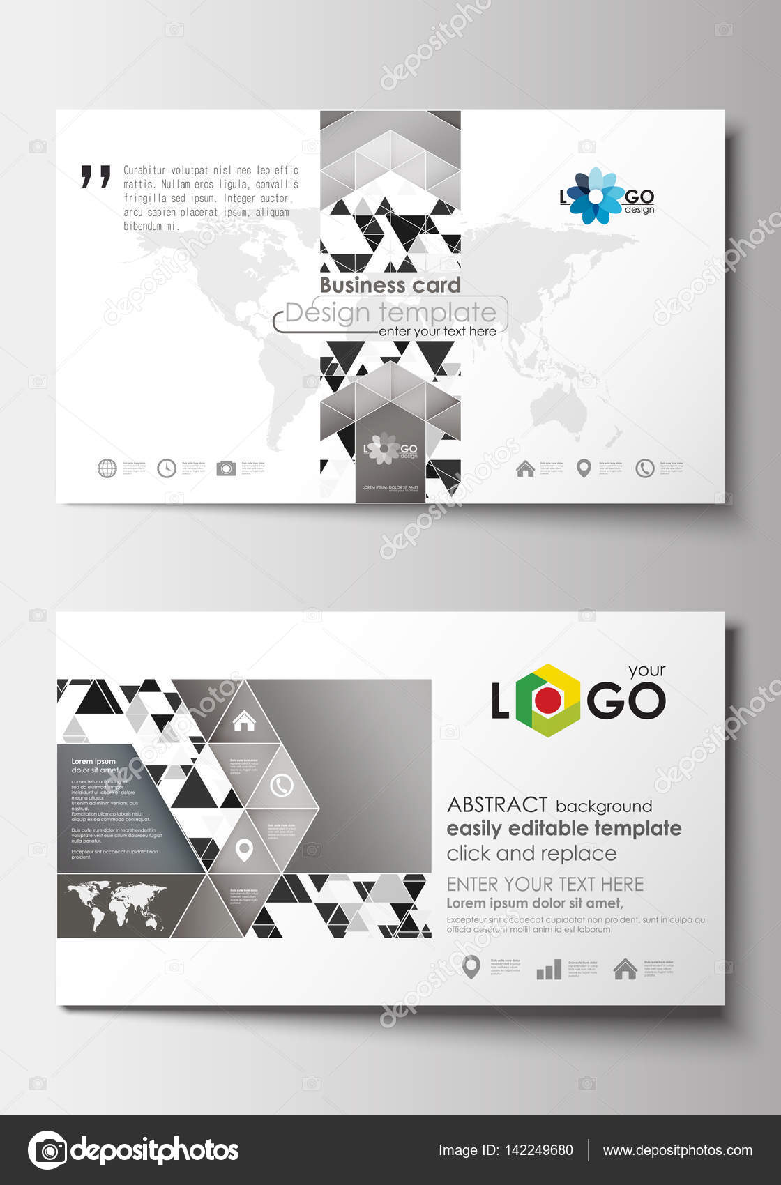 Business card templates cover template easy editable blank flat business card templates cover design template easy editable blank abstract flat layout abstract triangle design background modern gray color polygonal alramifo Images