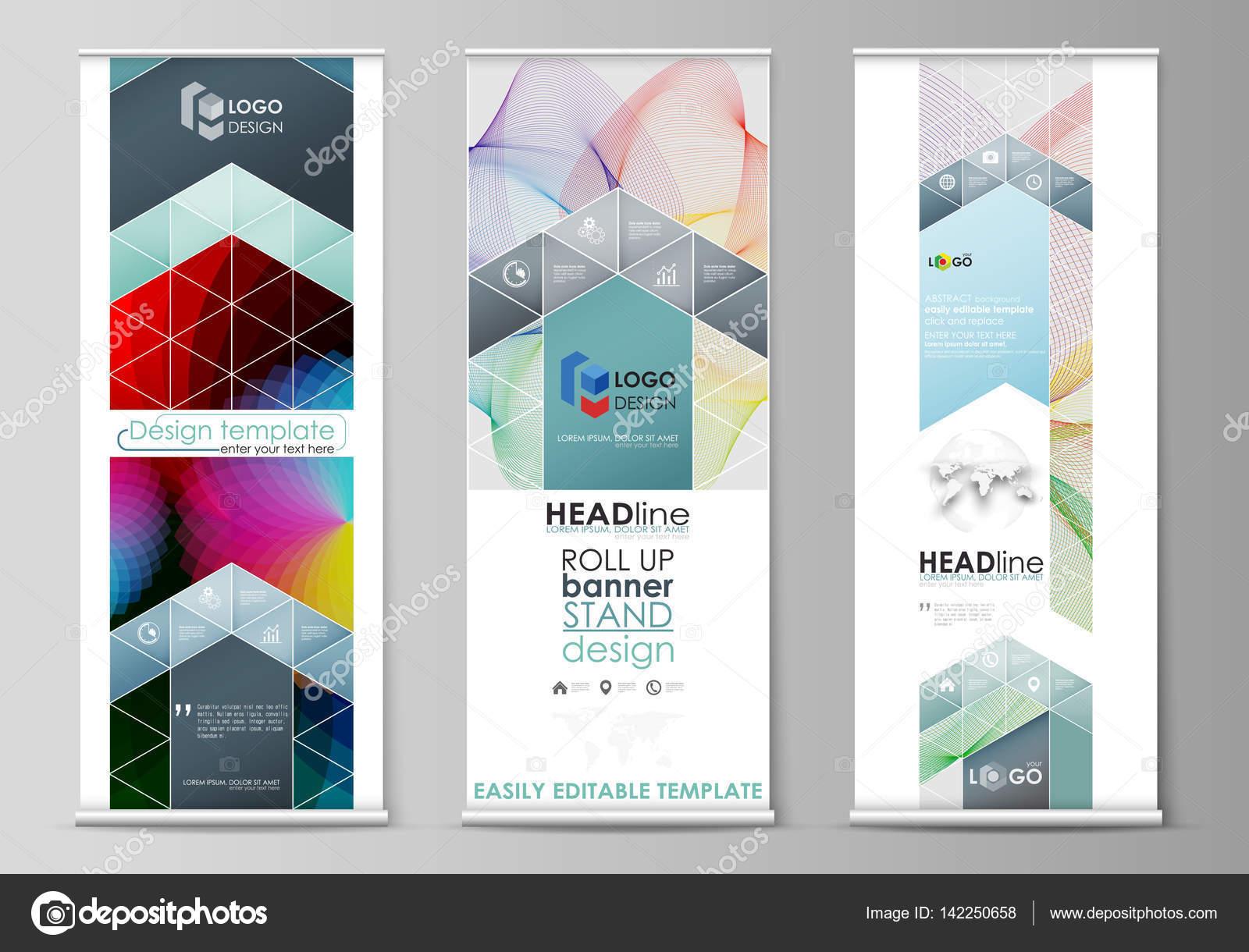 Roll-up Banner steht, flache Stilvorlagen, moderne Business-Konzept ...