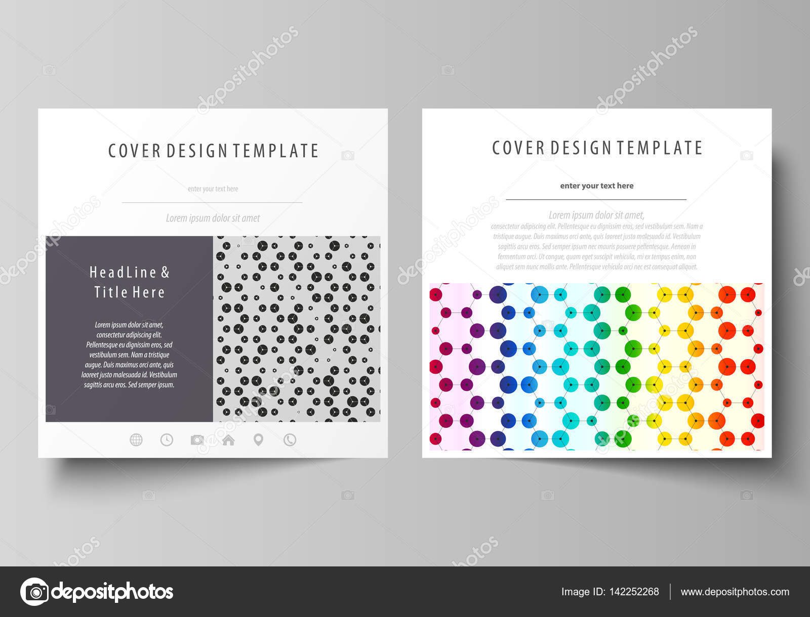 Business templates for square brochure, flyer. Leaflet cover ...