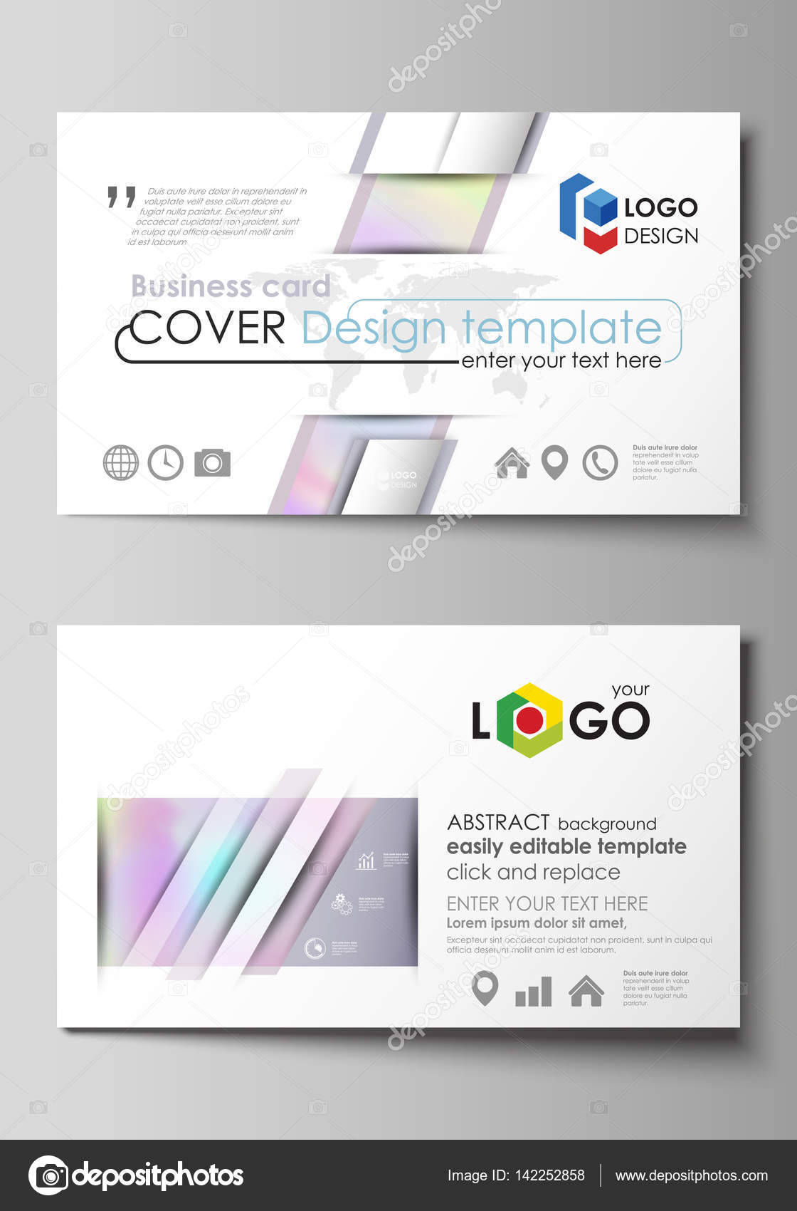 Business card templates easy editable layout abstract vector business card templates easy editable layout abstract vector design template hologram background in pastel colors with holographic effect magicingreecefo Images