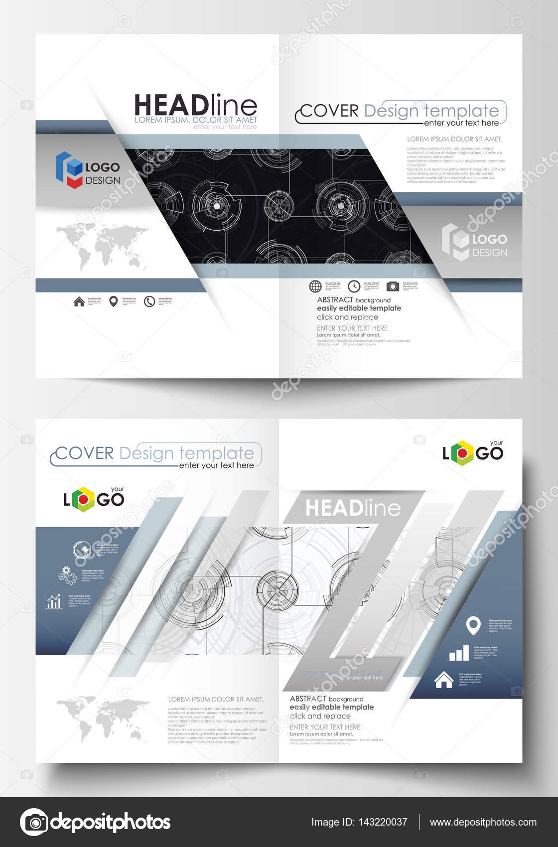 Business templates for bi fold brochure, magazine, flyer. Cover ...