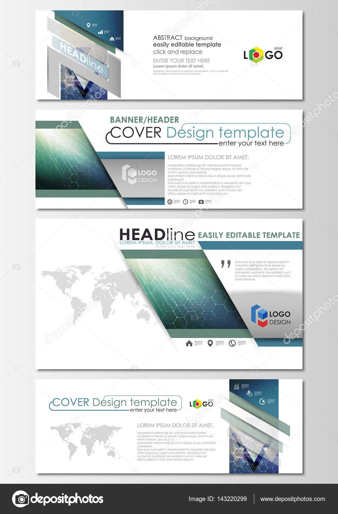 Social media and email headers set modern banners business social media and email headers set modern banners business templates abstract design template altavistaventures Image collections