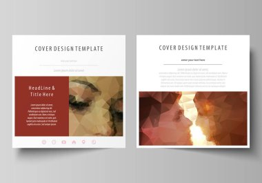 Business templates for square design brochure, magazine, flyer, booklet. Leaflet cover, abstract vector layout. Romantic couple kissing. Beautiful background. Geometrical pattern in triangular style.