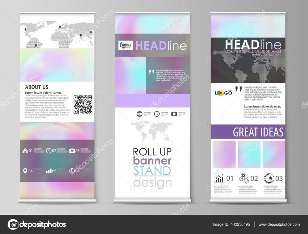 Roll-up Banner steht, flachen Design-Vorlagen, abstrakten ...